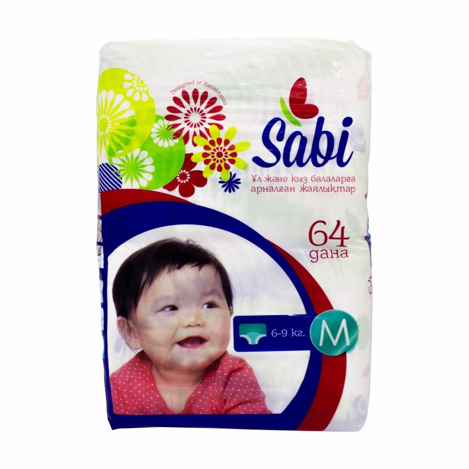 Детские подгузники Sabi M (64 шт) 6-9 кг