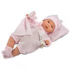 Кукла LLORENS малышка Жоэль 35 см в розовой  пижамке с одеялом