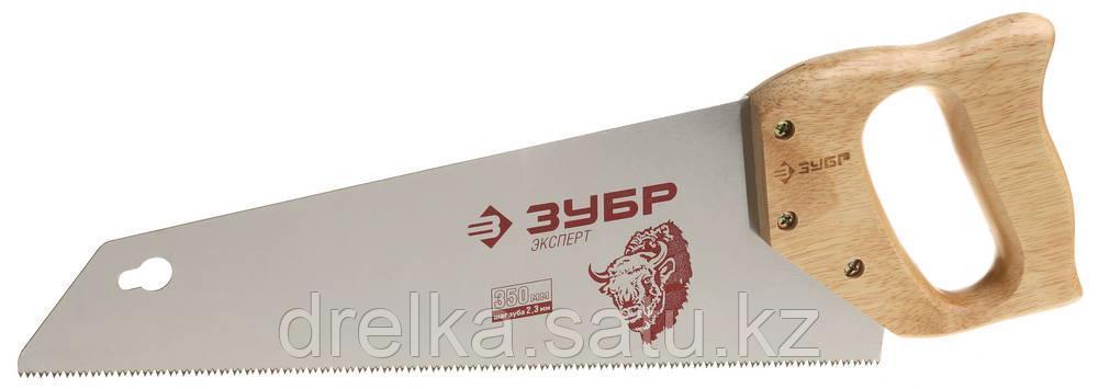 """Ножовка ЗУБР """"ЭКСПЕРТ"""" для тонкого пиления, прямой мелкий закаленный зуб, дерев. ручка, шаг зуба 2,3мм, 350 мм"""