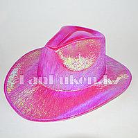Ковбойская карнавальная блестящая шляпа перламутровый розовый
