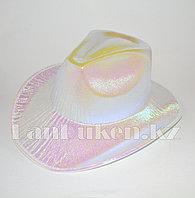 Ковбойская карнавальная блестящая шляпа перламутровый белый