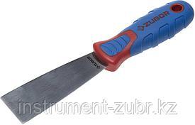 Шпательная лопатка ЗУБР с 2-компонент.усил.ручкой, профилированное нержав.полотно, 40 мм