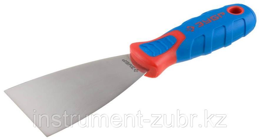 Шпательная лопатка ЗУБР с 2-компонент.усил.ручкой, профилированное нержав.полотно, 65 мм                                                              , фото 2