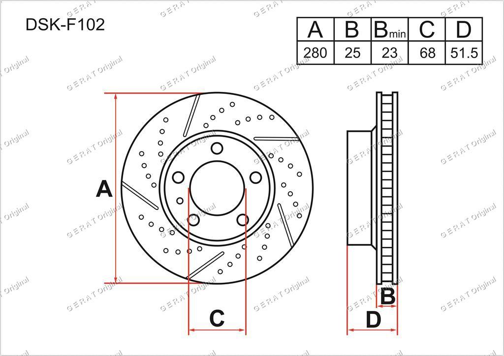 Диск тормозной передний комплект (2шт.) B45A33251A