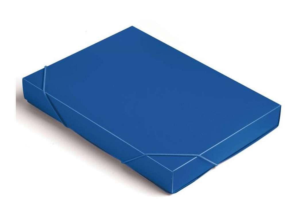 Папка-короб на резинках БЮРОКРАТ, A4 пластиковая, корешок 40 мм, синяя