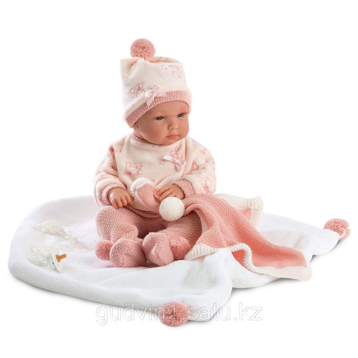 LLORENS: Кукла малышка 35 см в роз.шапочке с пумпоном с одеялом 63546
