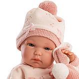 LLORENS: Кукла малышка 35 см в роз.шапочке с пумпоном с одеялом 63546, фото 3