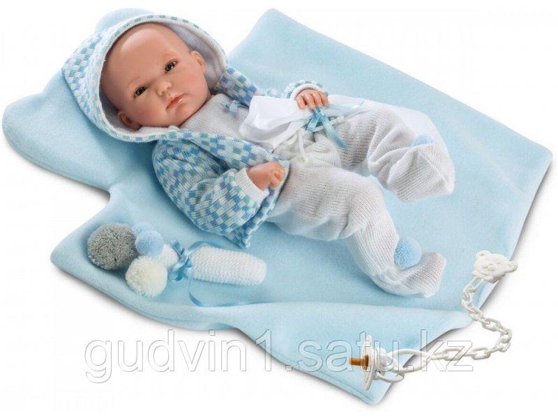 LLORENS: Кукла малыш 35 см в голубой курточке с одеялом 63541