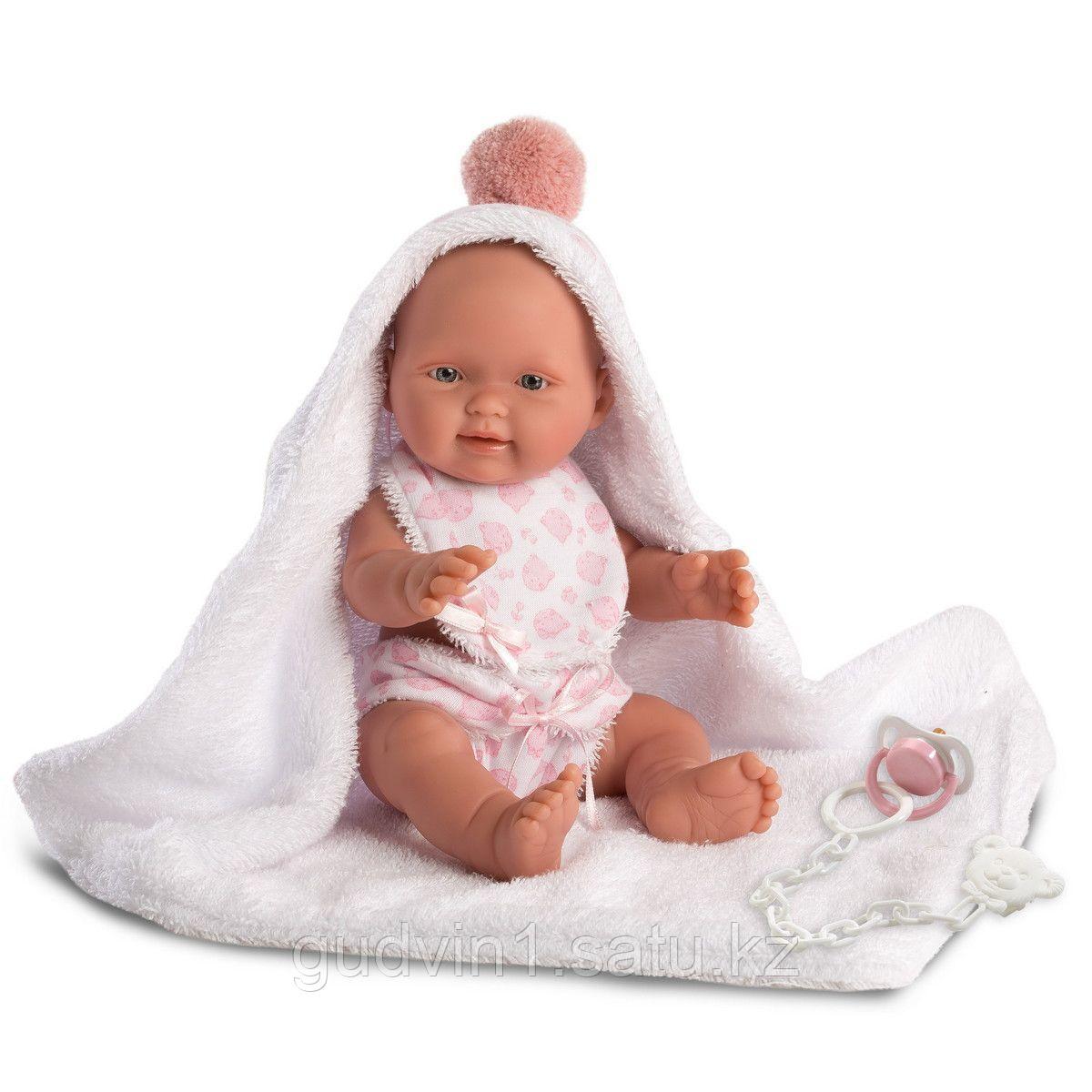 LLORENS: Кукла малышка 26см в розовом банном халатике 63548