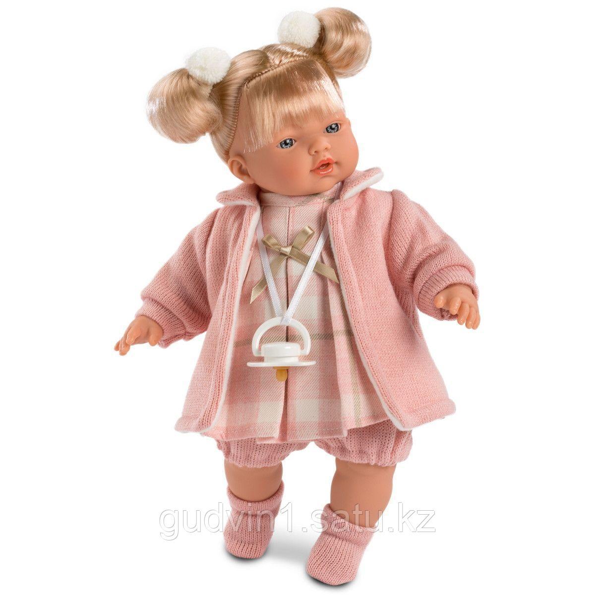 LLORENS: Кукла малышка Ариана 33 см, блондинка в розовом пальто 33112