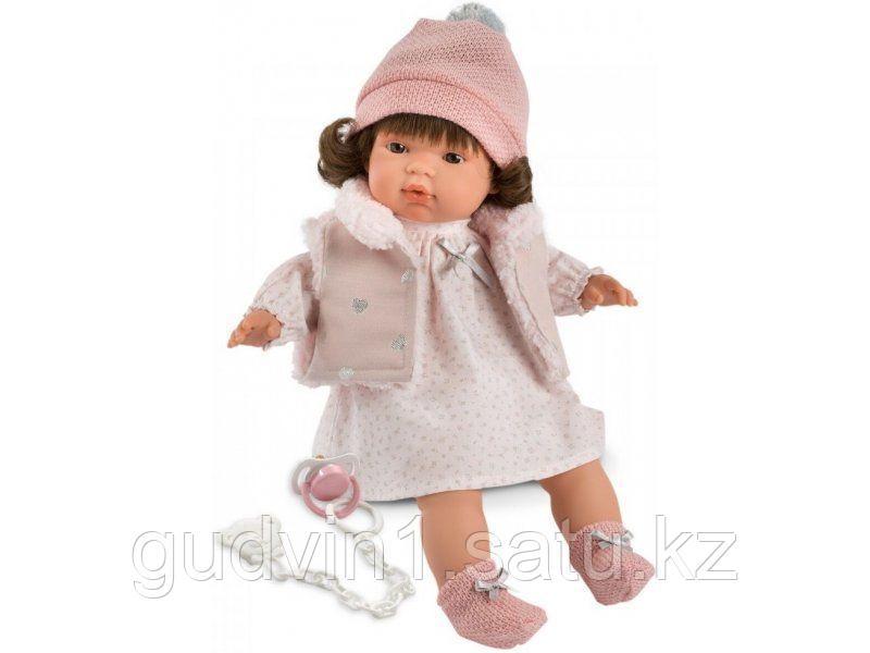 LLORENS: Кукла Люся 38см, брюнетка в розовой шапочке 38552