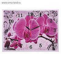 """Часы настенные, серия: Цветы, """"Розовые орхидеи с узором"""", 30х40 см, микс"""