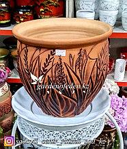 Керамический горшок для цветов (без поддона). Объем: 5л