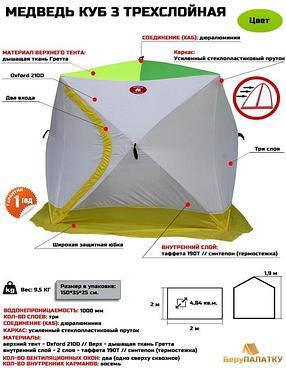 Зимняя палатка КУБ-Медведь- 3 трехслойная, фото 2