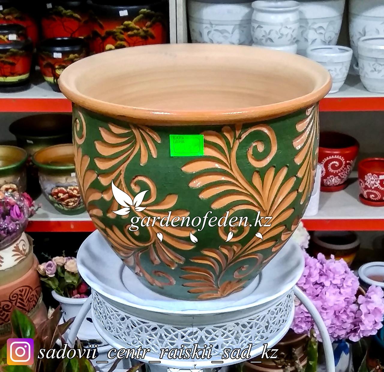 Керамический горшок для цветов (без поддона). Объем: 7л