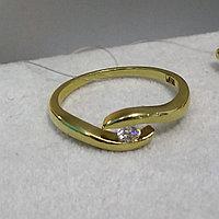 Кольцо с бриллиантом / жёлтое золото - 17 размер