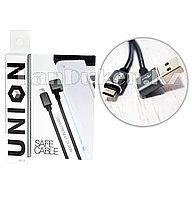 Плетеный кабель с разъемом micro-USB и с Г-образным USB-выходом (90 градусов) Union UN-32 1метр