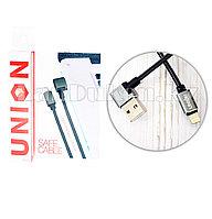 Плетеный Кабель с разъемом Lightning и с Г-образным USB-выходом (90 градусов) Union UN-32 1метр
