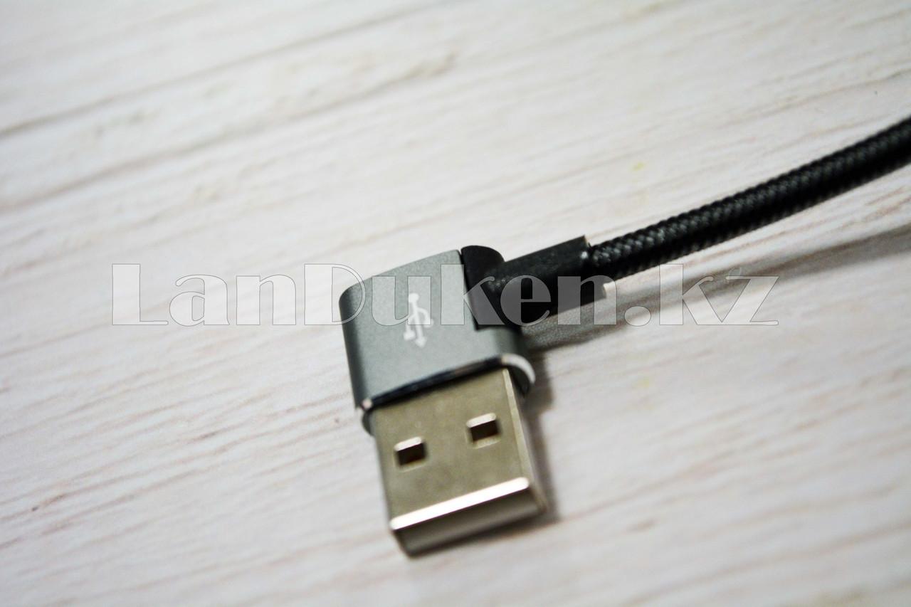 Плетеный Кабель с разъемом Lightning и с Г-образным USB-выходом (90 градусов) Union UN-32 1метр - фото 2