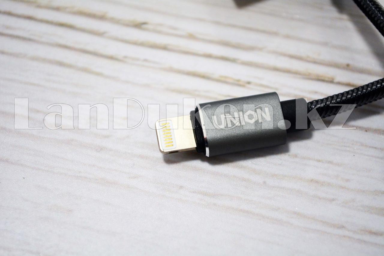 Плетеный Кабель с разъемом Lightning и с Г-образным USB-выходом (90 градусов) Union UN-32 1метр - фото 5