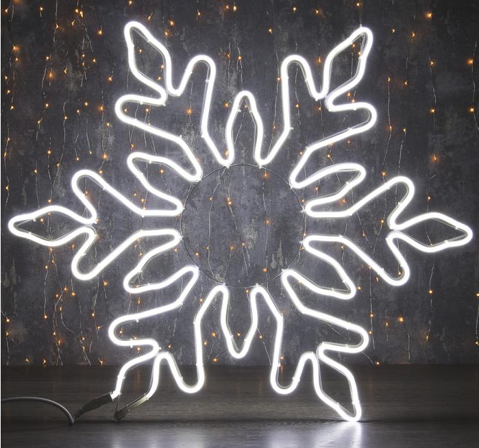 """Фигура из неона """"Снежинка"""", 75 см, 6 метров, 720 LED, 220 В, ТЁПЛЫЙ БЕЛЫЙ"""