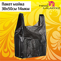 Пакет майка черного цвета 30х50см 14мкм