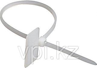 Хомут пластиковый с маркировочной площадкой (биркой), желтый, 150(130)*3мм