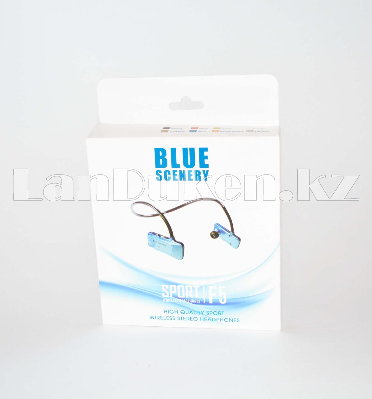 Блютуз наушники Bluetooth Blue Scenery sport F5 золотые - фото 7