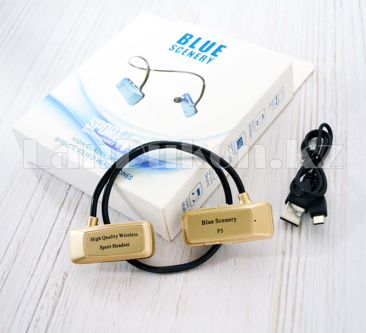 Блютуз наушники Bluetooth Blue Scenery sport F5 золотые - фото 6
