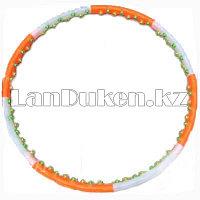 Обруч гимнастический магнитный (хула хуп) из 8 разборных частей 1.3 кг бело-оранжевый