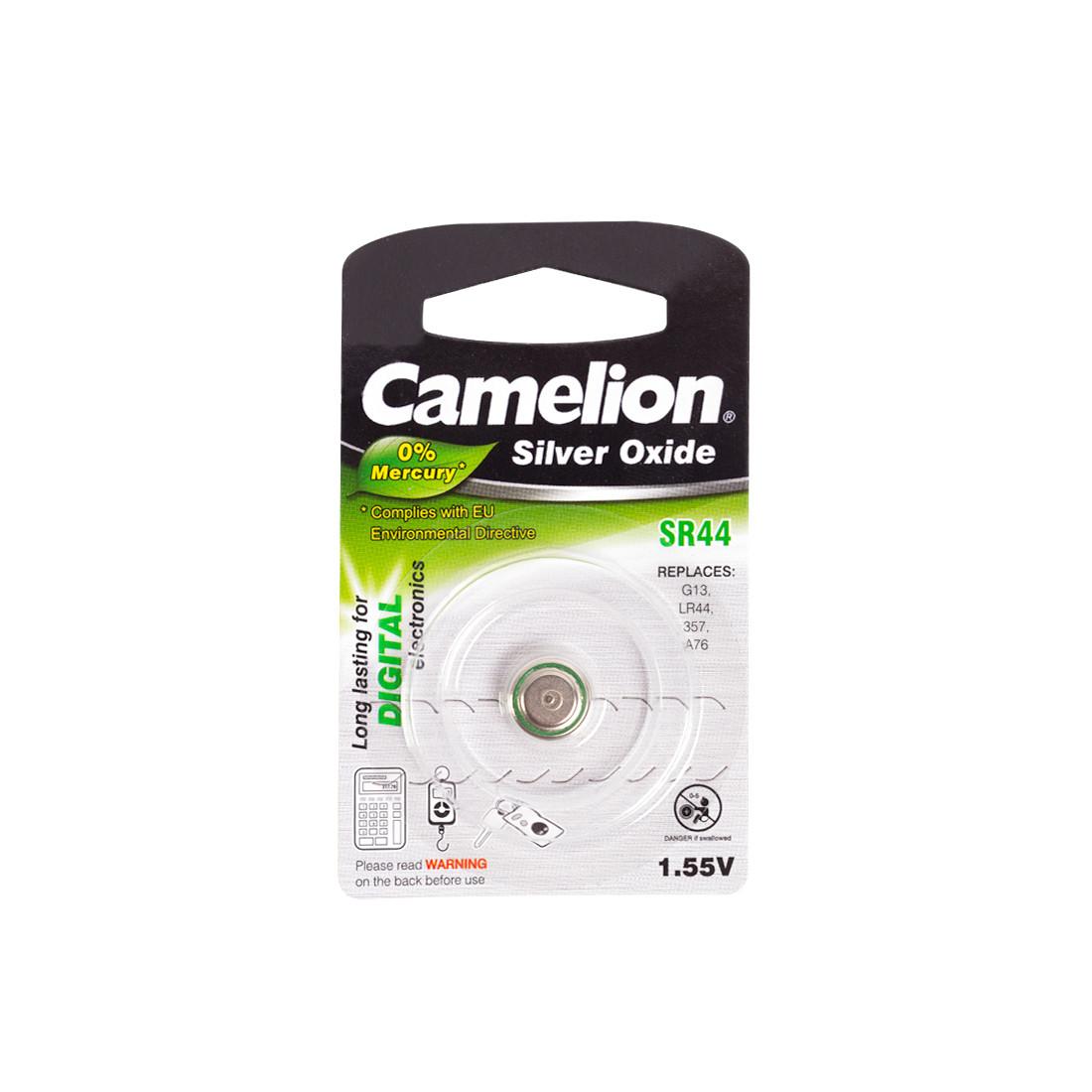 Батарейка CAMELION SR44-BP1(0%Hg)  Silver Oxide 1.55V 0% Ртути 1 шт. Блистер