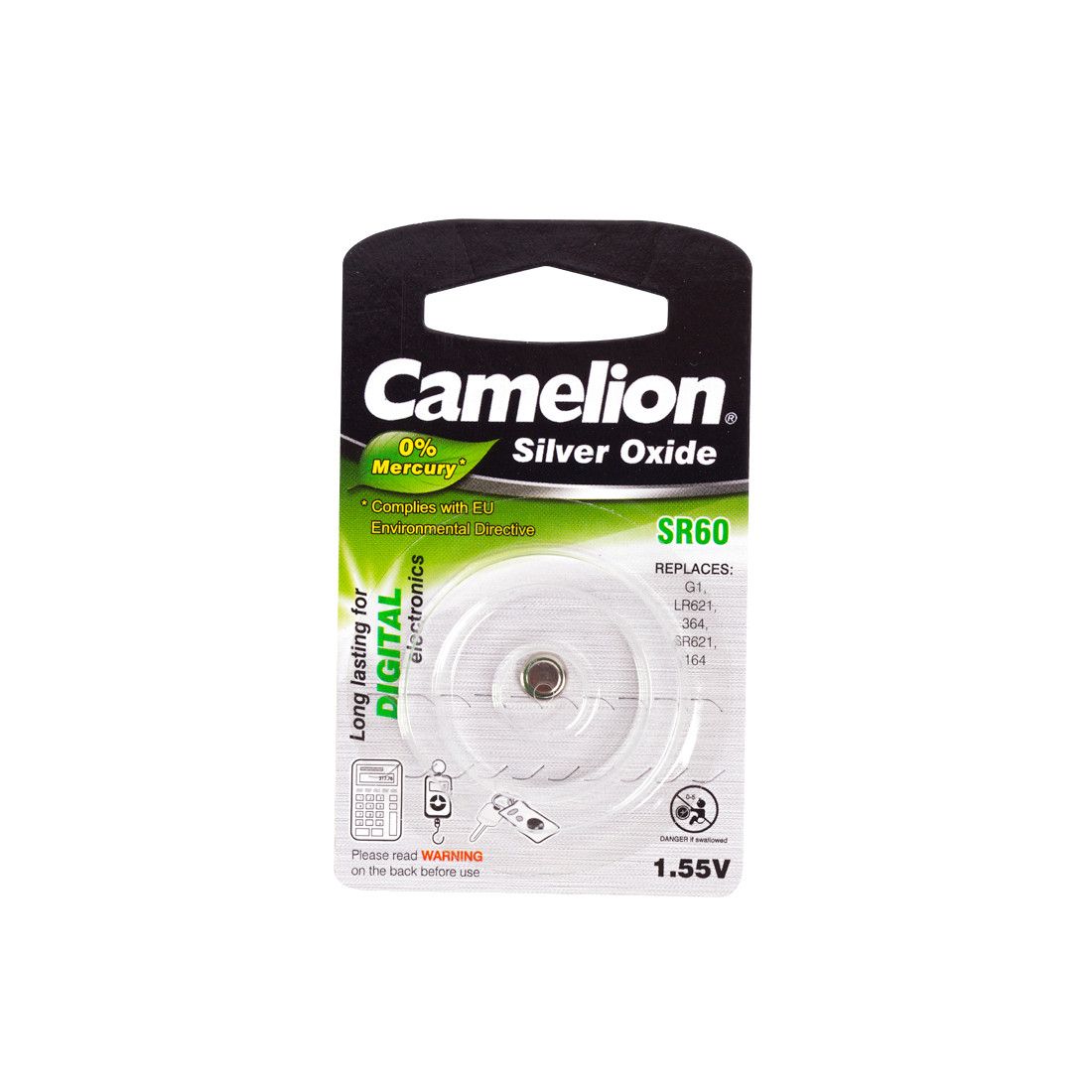 Батарейка CAMELION SR60-BP1(0%Hg)  Silver Oxide 1.55V 0% Ртути 1 шт. Блистер