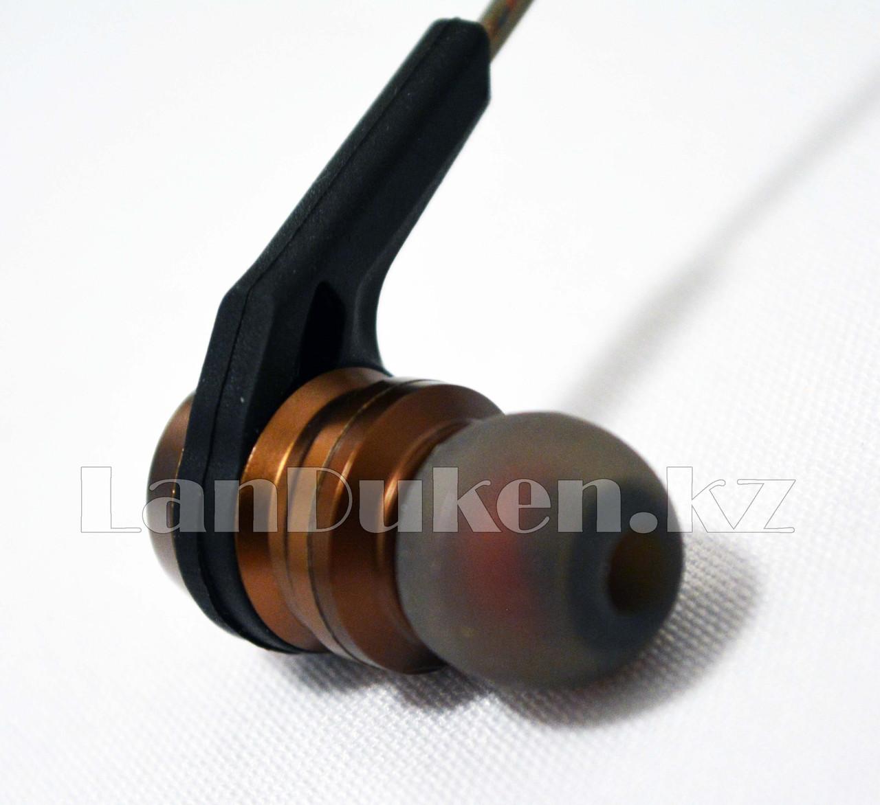 Спортивные Блютуз наушники Evisu W12 sports wireless earphones c магнитным креплением бронзовые - фото 3