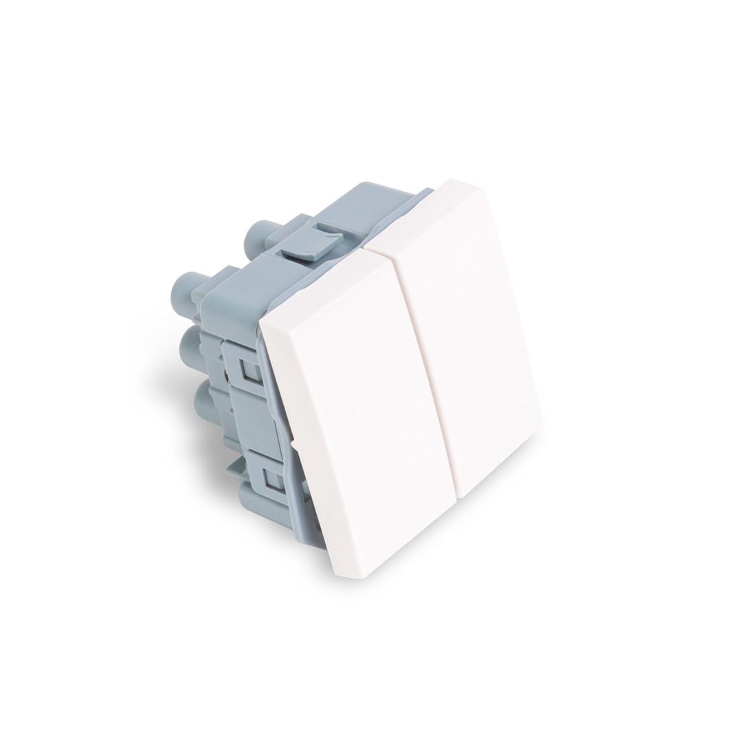Выключатель модульный двуклавишный Рувинил АДЛ 13-905 45х45 мм Белый