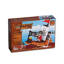 Игровой конструктор Ausini 27303 Пираты Капитан пиратов на лодке 66 деталей Цветная коробка