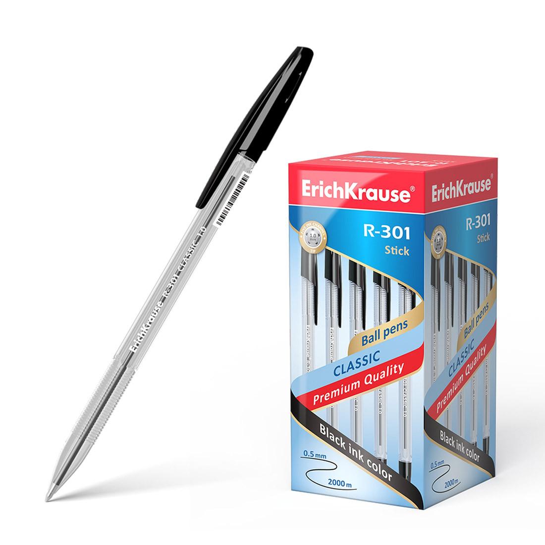 Ручка шариковая ErichKrause® 43185 R-301 Classic Stick 1.0 цвет чернил черный (упак./50 шт.)