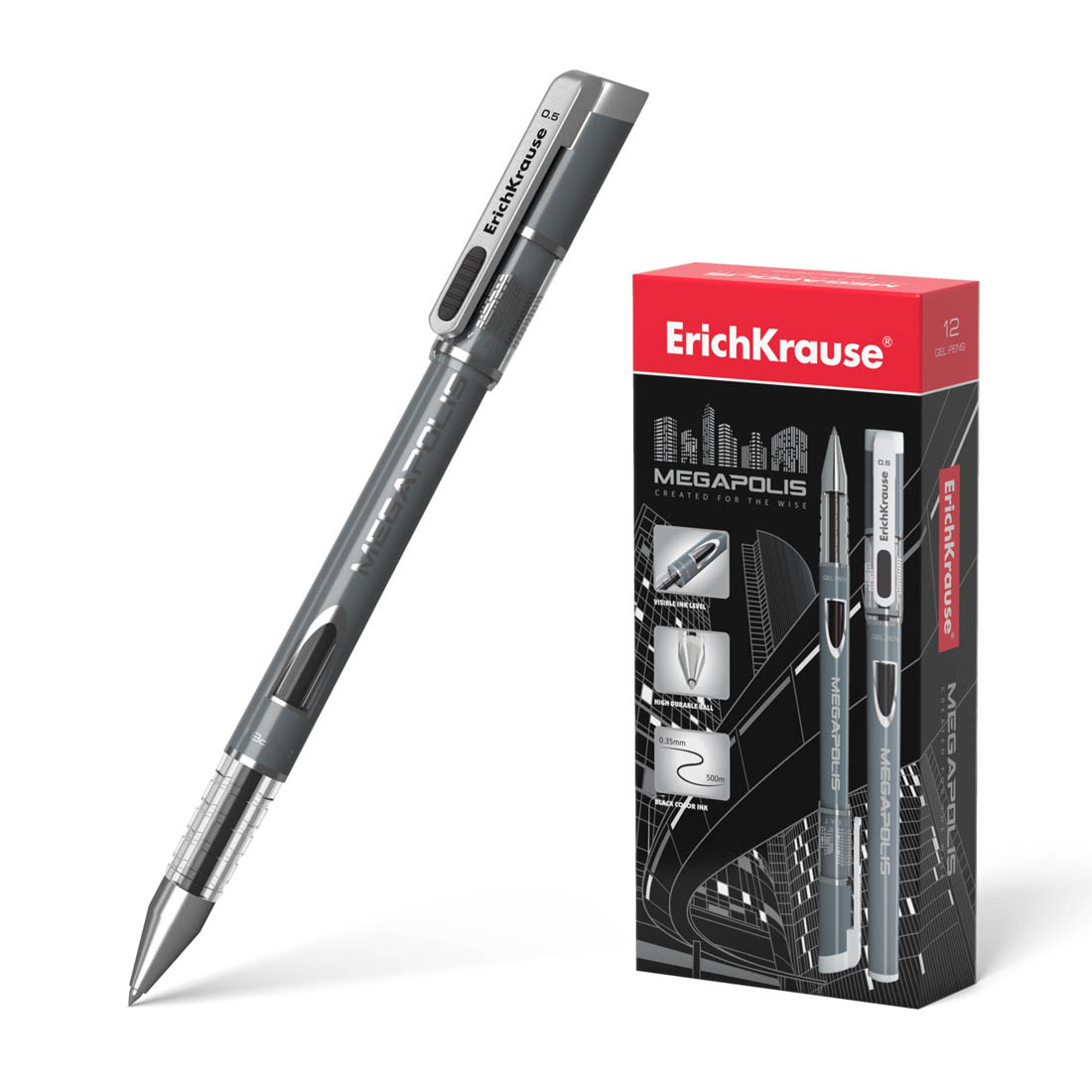 Ручка гелевая ErichKrause® 93 MEGAPOLIS® Gel цвет чернил черный (упак./12 шт.)