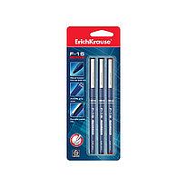 Ручка капиллярная ErichKrause® 37176 F-15 цвет чернил: синий черный красный (в блистере по 3 ручки)