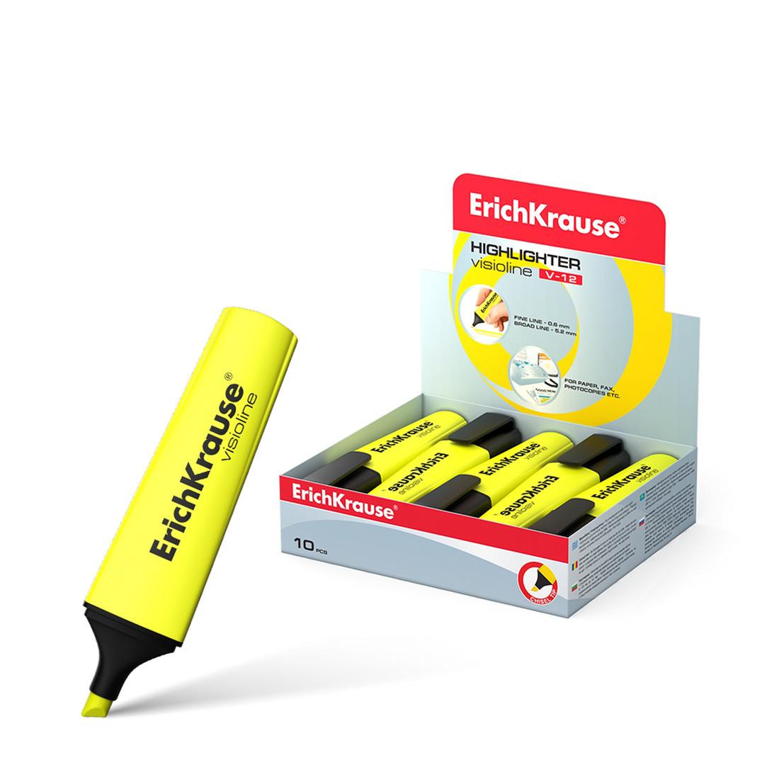 Текстмаркер ErichKrause® 32496 Visioline V-12 цвет чернил желтый