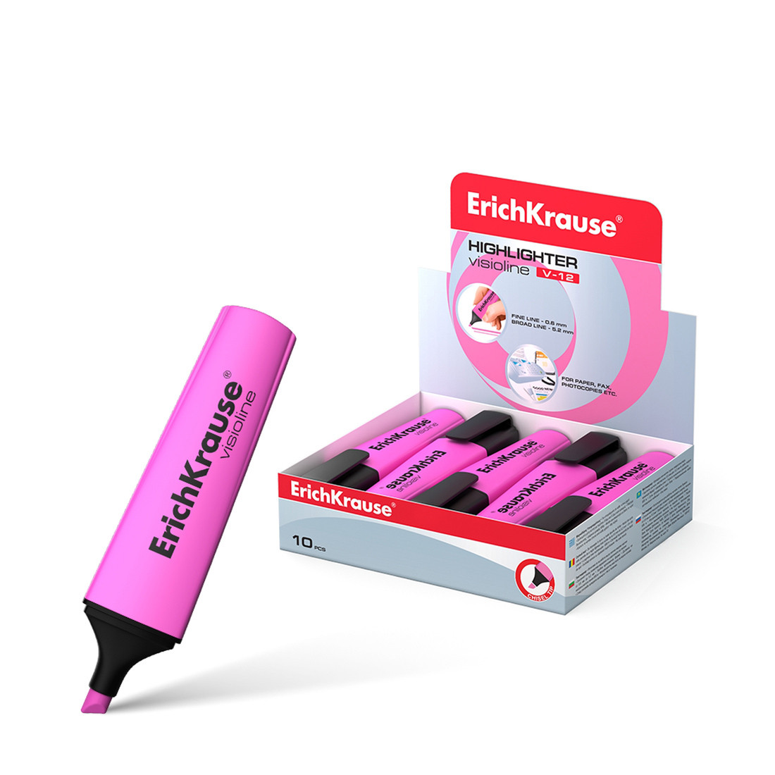 Текстмаркер ErichKrause® 32498 Visioline V-12 цвет чернил розовый