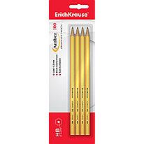 Чернографитный шестигранный карандаш ErichKrause® 45475 Amber 100 HB (в блистере по 4шт.) жёлтый