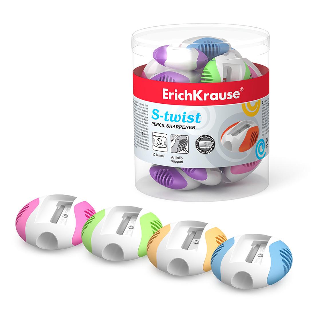 Пластиковая точилка ErichKrause® 33613 S-Twist цвет корпуса ассорти (в тубусе по 24 шт.)