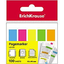 Закладки пластиковые с клеевым краем ErichKrause® 31177 Neon 12х44 мм 100 листов в пленке 12 шт. 5 цветов