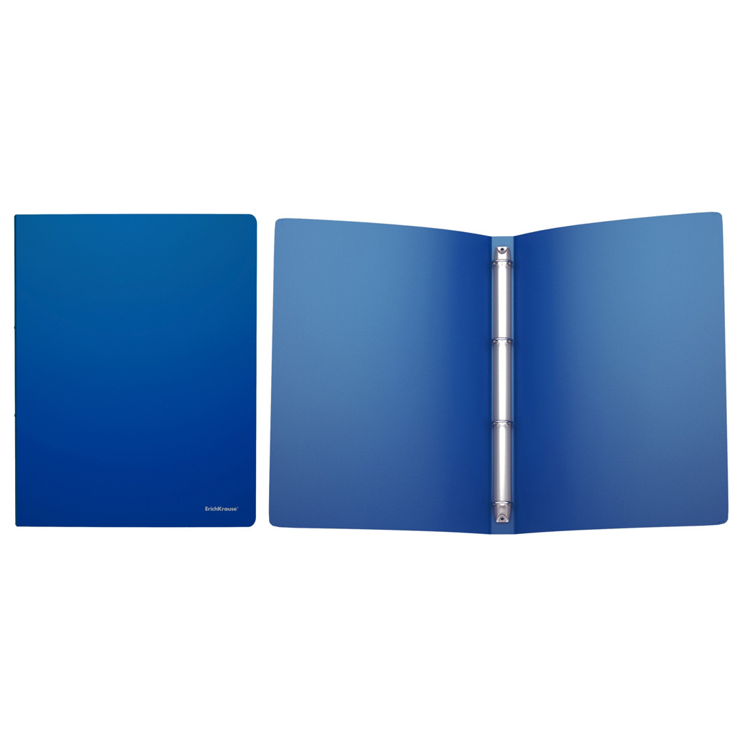 Папка на 4 кольцах пластиковая ErichKrause® 42983 Classic 24мм A4 синий (в коробке-дисплее по 12 шт.)