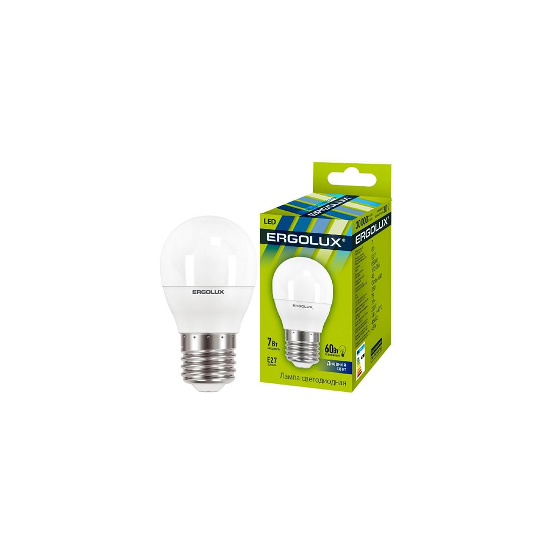 Эл. лампа светодиодная Ergolux LED-G45-7W-E27-6K Шар Дневной