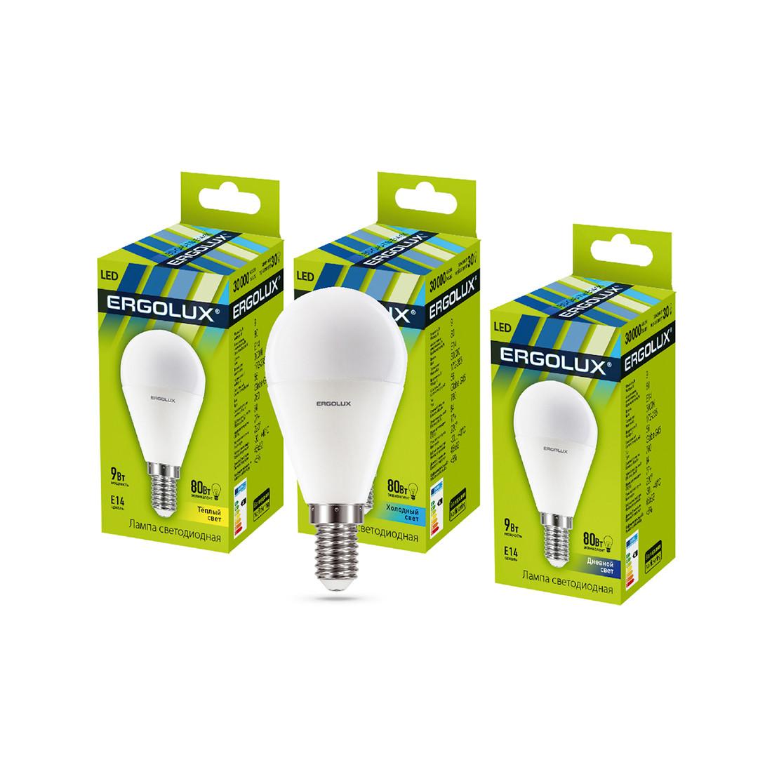 Эл. лампа светодиодная Ergolux LED-G45-9W-E14-6K Шар Дневной