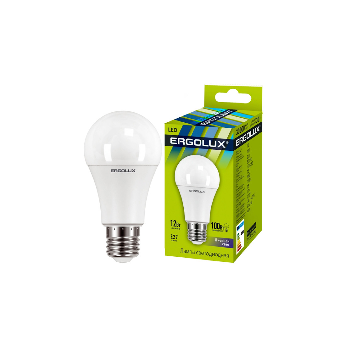 Эл. лампа светодиодная Ergolux LED-A60-12W-E27-6K ЛОН Дневной
