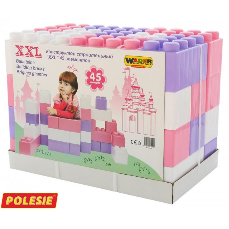 40091 Конструктор строительный Полесье XXL розовый 45 элементов