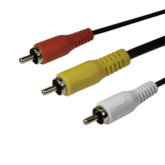 Интерфейсный кабель SHIP SH8053-3P RCA (тюльпаны аудио-видео-звук) Пол. пакет 3 м Чёрный