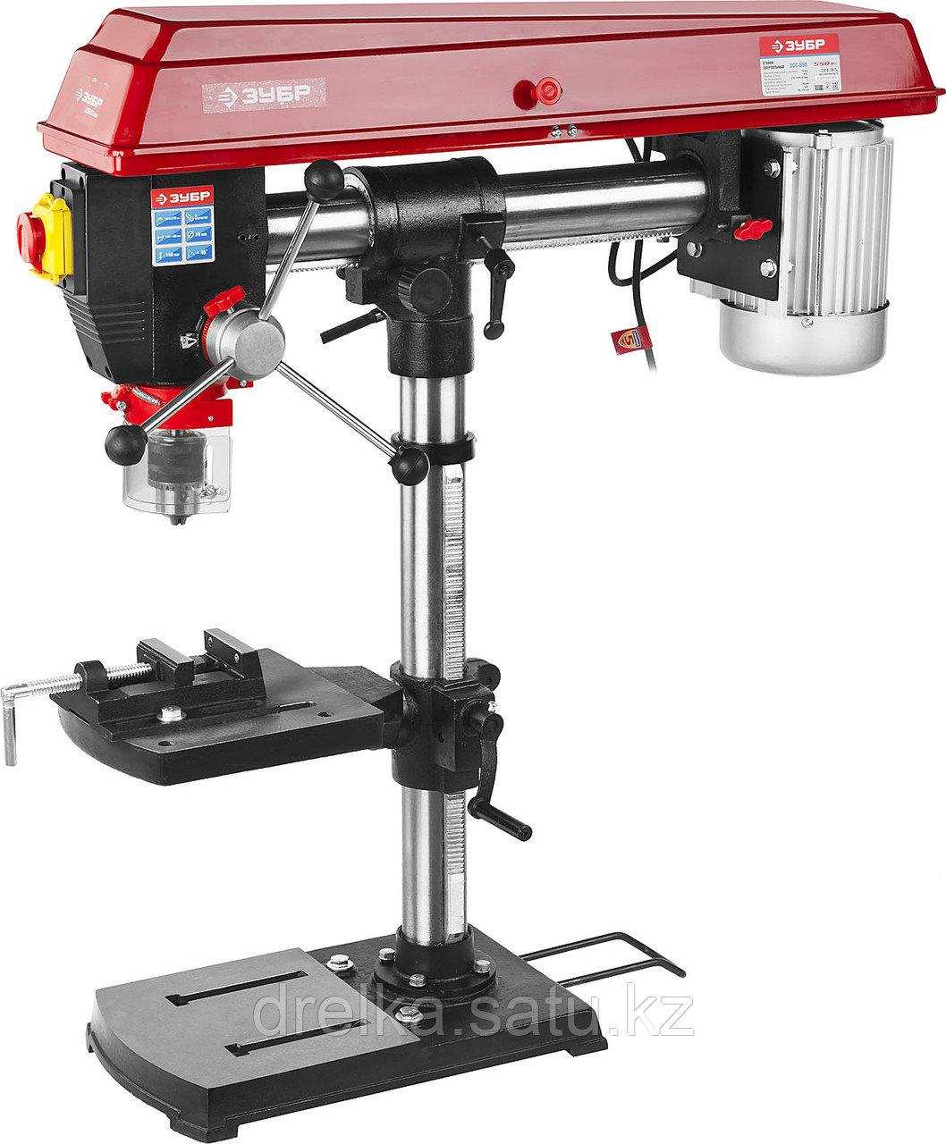 Станок сверлильный ЗУБР ЗСС-550, безопасный выключатель, 5 скоростей, патрон 16 мм, 550 Вт.